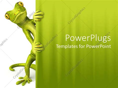 powerpoint templates for zoology powerpoint template green lizard peaking through curtain