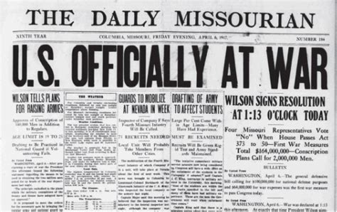 quot u s officially at war quot the daily missourian headline