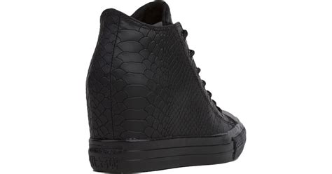 all black sneaker wedges converse chuck all embossed reptile mid