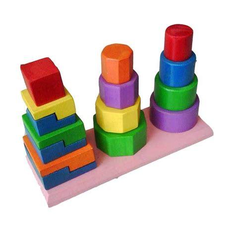 Mainan Bentuk jual mainan edukasi menara tiga bentuk mainan anak