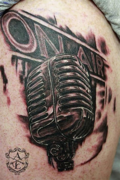 stereo tattoo designs radio on air mic on shoulder by ambrose