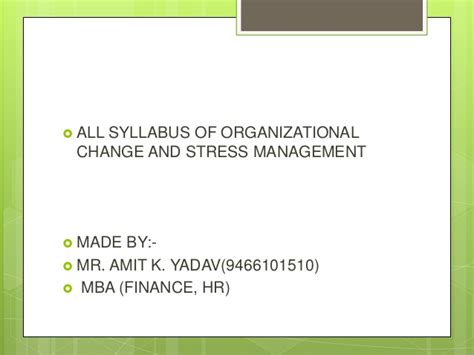 Mba In Organizational Change by Syllabus Of Stress