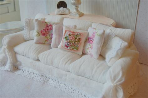 Shabby Chic Slipcovers Dollhouse Miniature Shabby Chic White Wrinkle Slipcover Sofa