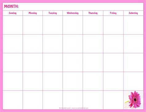 Blank Calendar Printable My Calendar Land Writable Calendar Template