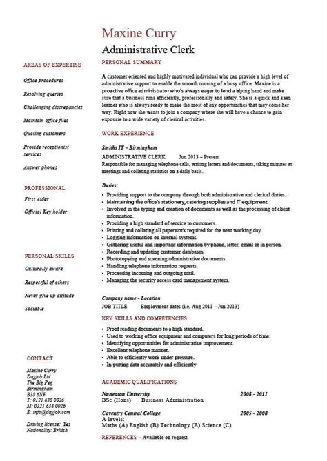 Resume Sles Clerical Skills 25 Best Ideas About Description On Resume Skills Power Company Near Me And