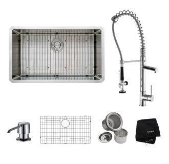 Kraus Khu100 32 Kpf1602 Ksd30ch Stainless Steel Chrome Kitchen Combo 32 Quot Undermount Single Kraus Sink Templates