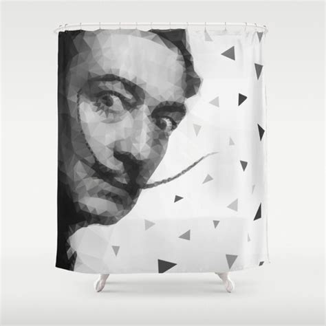 salvador dali shower curtain dali shower curtain low poly shower curtain triangles black