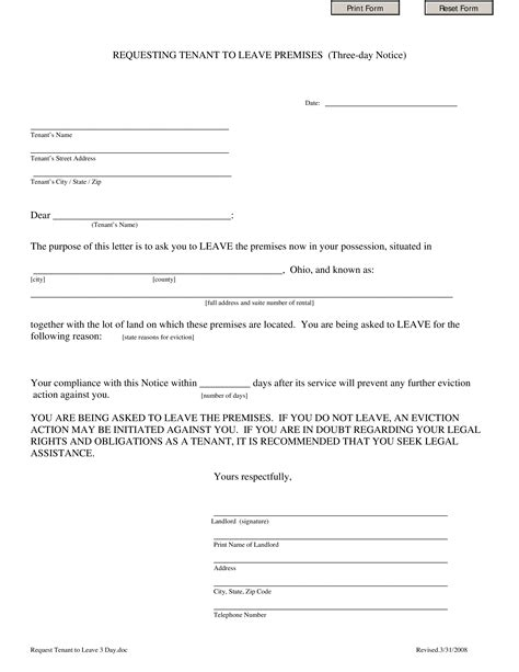printable legal eviction notice draft legal