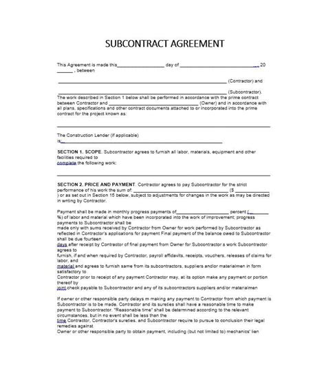 contractor subcontractor agreement template need a subcontractor agreement 39 free templates here