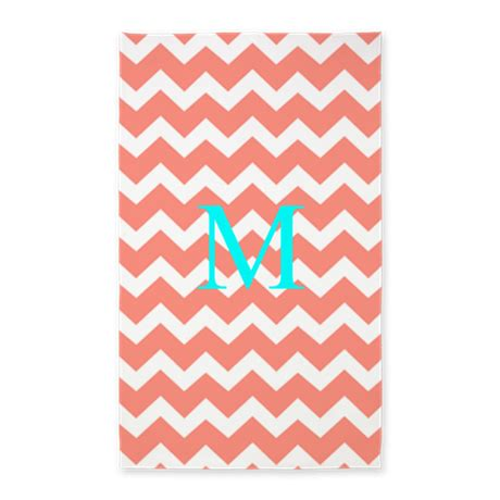 Monogram Area Rug Aqua Monogram Coral Chevron 3 X5 Area Rug By Dreamingmindcards