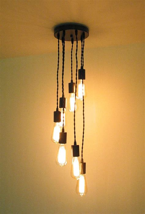 Filament Light Bulb Chandelier Spiral Chandelier Light With Twisted Cord Seven Edison Filament Bulbs