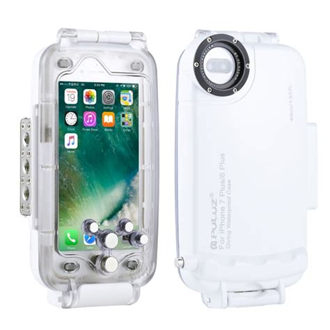 puluz for iphone 8 plus 7 plus 40m 130ft waterproof diving housing photo taking