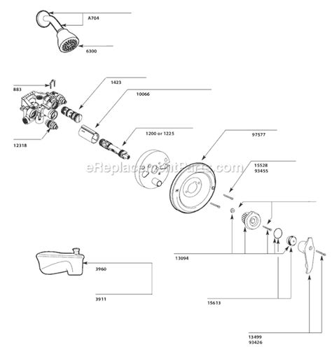 bathtub parts diagram moen 3150 parts list and diagram ereplacementparts com