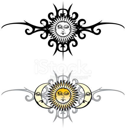 vintage tatuaggio tribale sole e luna stock vector