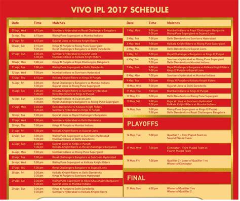 ipl 2017 schedule vivo ipl 2017 match schedule