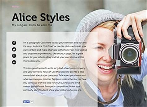 photography bio template 1 pager bio website template wix