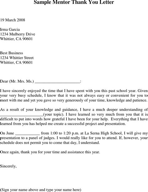 Mentor Support Letter Sle The Sle Mentor Thank You Letter Can Help You Make A