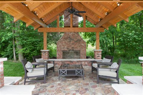 covered patio with fireplace outdoor brick fireplace patio traditional with brick