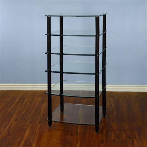 vti rack vti 6 shelf audio rack with glass shelves agr406b black poles