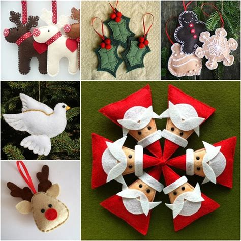 cute printable christmas decorations diy cute christmas felt ornaments beesdiy com