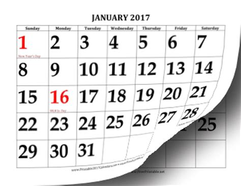 large print calendar template printable 2017 calendar with large print