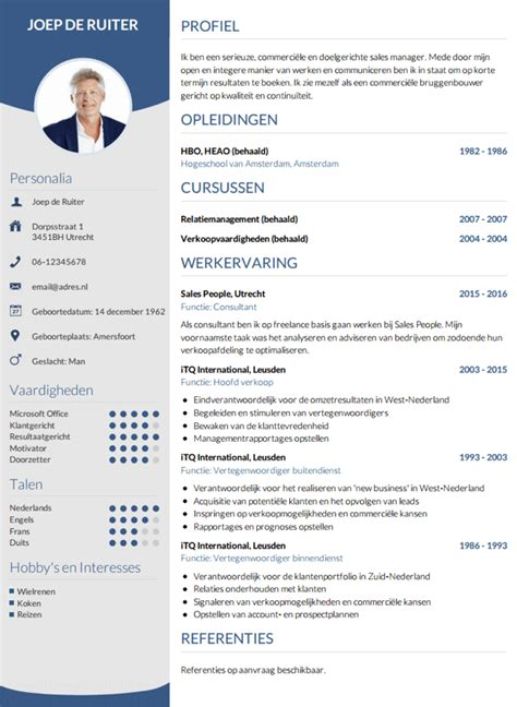 Cv Template Engels Cv Opstellen Invullen En Direct Je Cv Downloaden Cv Nl