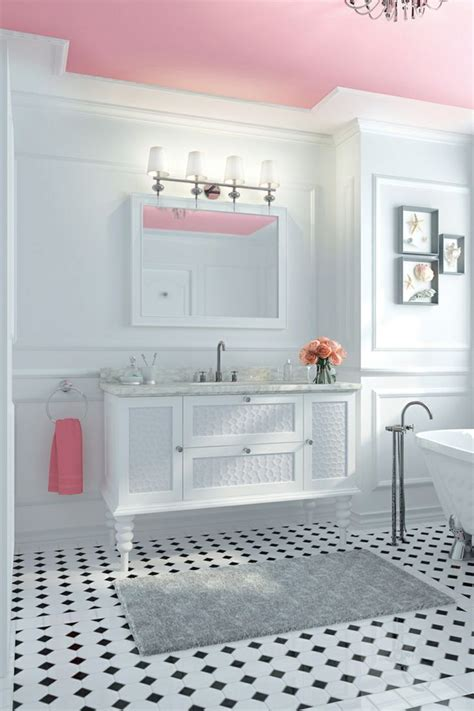 pink ceiling black white tile bathroom best friends for frosting