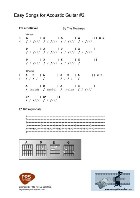 secret acoustic chords 3 9 i m a believer guitar lessons the secret guitar