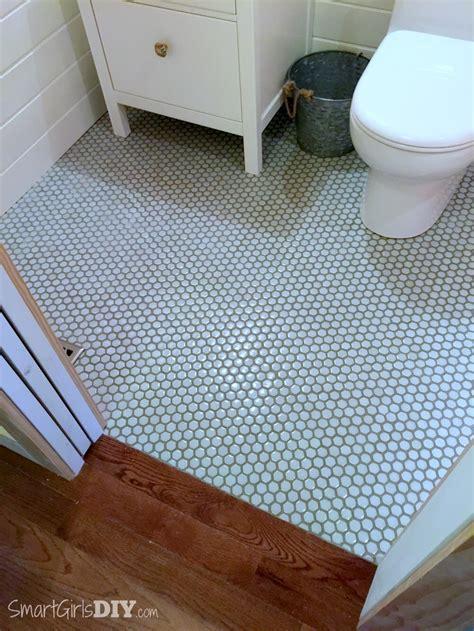 diy tile bathroom guest bathroom 7 diy hex tile floor