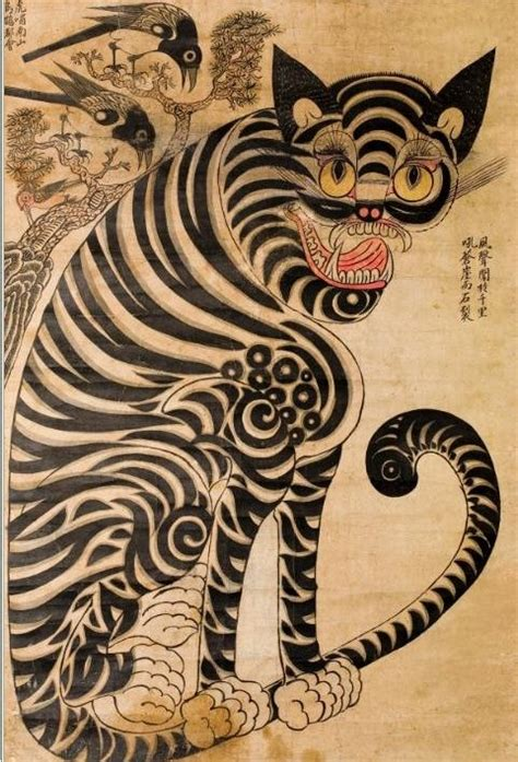 traditional korean tiger and magpie korean art pinterest