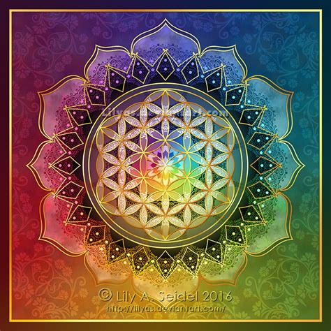 rainbow flower of life lotus by lilyas on deviantart