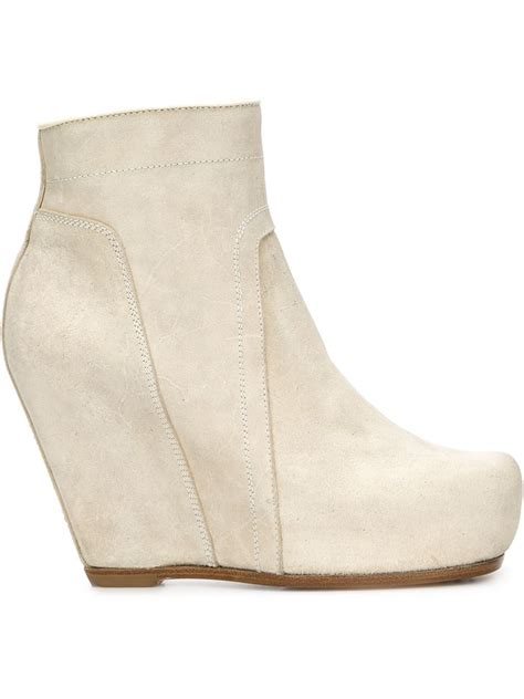 rick owens wedge ankle boots in white save 60 lyst