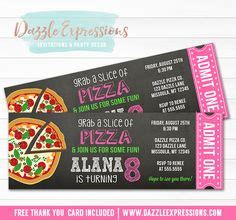 printable pizza tickets printable sleepover chalkboard birthday invitation girls