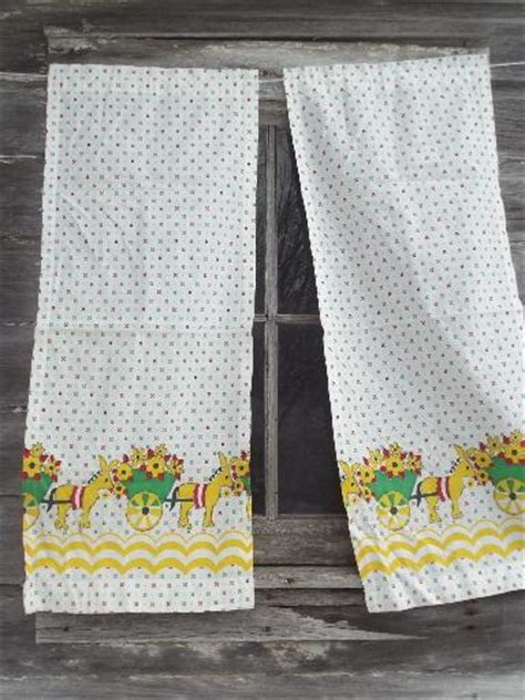 Feed Sack Curtains Vintage Feed Sack Kitchen Curtains Flower Cart Print Cotton Fabric