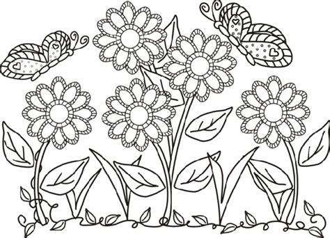 disegni con farfalle e fiori fiori e farfalle da colorare idee green