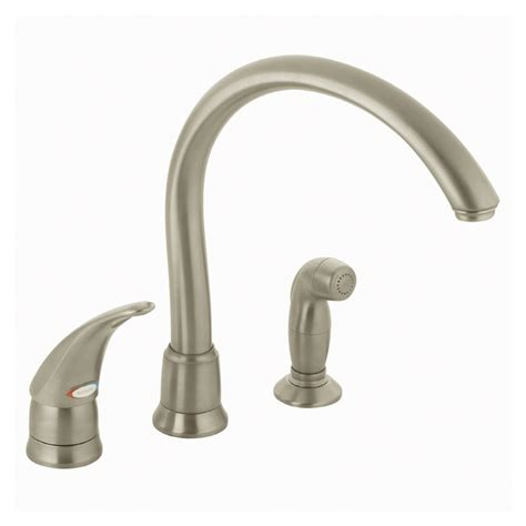 Kitchen Faucet Handle Shop Moen Monticello Stainless Steel Single Handle Kitchen Faucet With Side Spray At Lowes