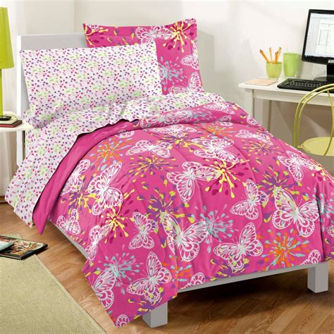 pink twin bed set new butterfly party pink girls bedding comforter sheet set