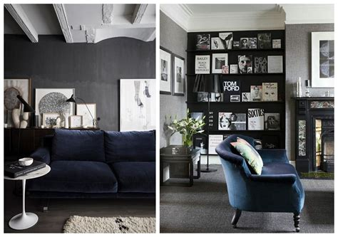 grey couch blue walls a perfect combo velvet sofa dark walls