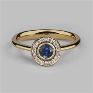 Bounchem Clusters 150 Pcs halo 4 cluster ring in 14 18ct yellow gold blue sapphire diamonds engagement rings