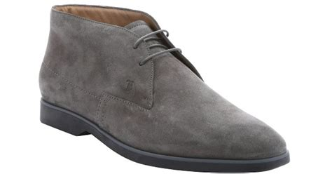 grey chukka boots tod s lead grey suede lace up chukka boots in gray for