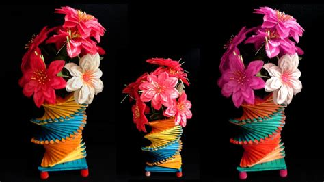 How Do You Make A Flower Out Of Tissue Paper - how to make popsicle stick flower vase easy diy