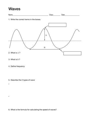 Wave Worksheet Pdf