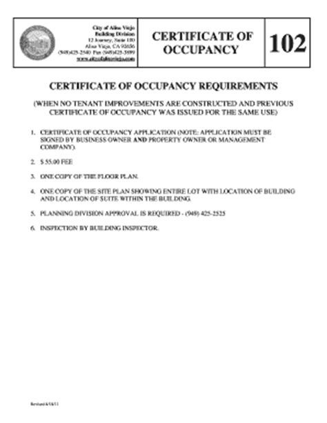 certificate of occupancy template certificate of occupancy escondido ca fill