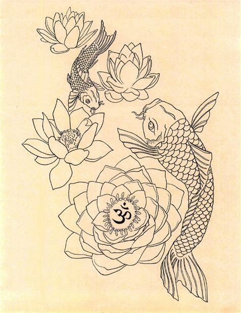 fish tattoo designs art japanese fish om lotus drawing print by