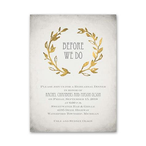 dinner invitations leaves of gold rehearsal dinner invitation invitations by