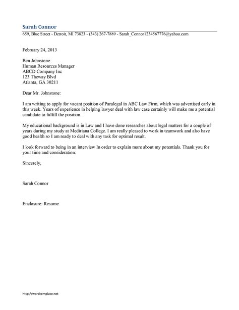 paralegal cover letter exles paralegal cover letter template free microsoft word