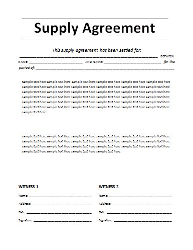 free supply agreement template free word s templates
