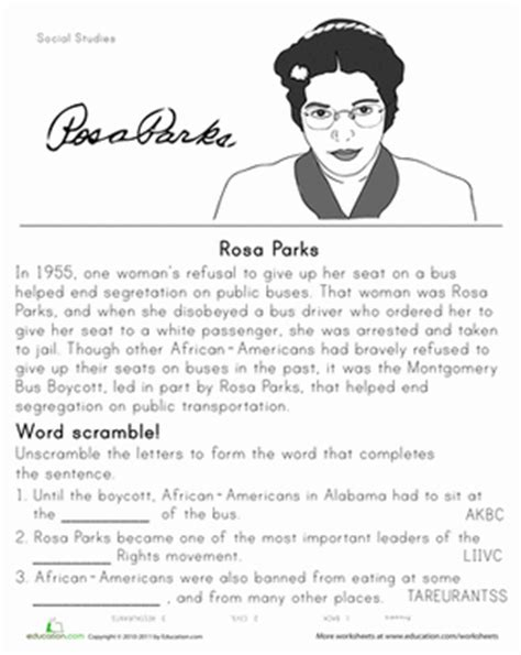 rosa parks book report rosa parks historical heroes worksheet education