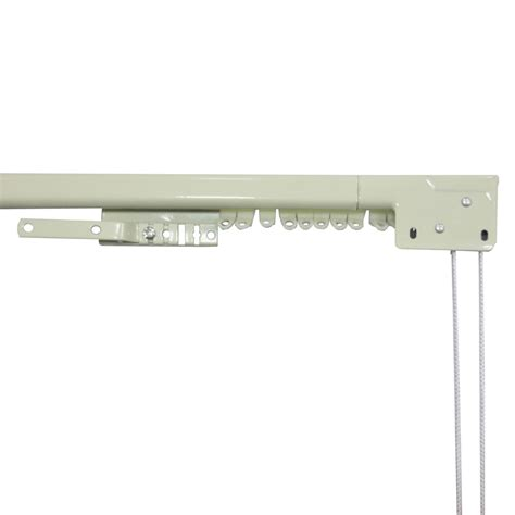 traverse curtain rods shop project source 84 in to 156 in white steel traverse