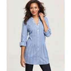 Style amp co tunic long sleeve pleated embroidered collar thisnext
